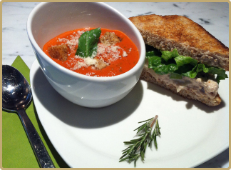 Tomato Basil Soup with Albacore Sandwich